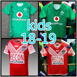 8f648261b Best Quality 18 19 International Super Rugby league Tonga Rugby League  Children's jersey Ireland Rugby child green Jerseys SIZE:16-26