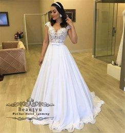 $enCountryForm.capitalKeyWord Australia - Lace Chiffon Beach Wedding Dresses Bridal Gowns 2019 Plus Size Elegant A Line Floor Length Long Country Boho Wedding Gowns Vestidos De Noiva