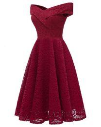 Burgundy Off Shoulder Women Skater Dresses 2019 Cap Sleeves Knee Length V  neck Midi Lace Dresses for Women Prom Party Birthday Holiday 5530d129c