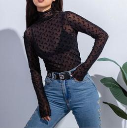 tee shirt transparent 2019 - Hot Sexy Women Transparent Top Blouse High Neck Mesh Sheer Shirt Blusas Slim Women See Through Tees Pullover Tops cheap