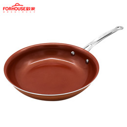 Stick potS online shopping - 10 Inch Non Stick Copper Frying Pan Ceramic Coating Aluminum Pots Baking Cooking Cake Pans For Induction Pan Cooker Wok