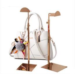 Оптовая Серебряный металлический женский Ювелирные Изделия Стенд манекен для дисплея обуви сумки Регулируемая высота толстое основание из нержавеющей стали стойки 1 шт. C206 на Распродаже