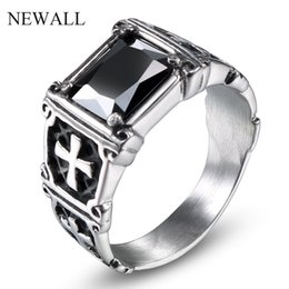 black stainless steel engagement rings NZ - Newall stainless steel Black stone men's punk high quality ring jewelry ZC fashion love engagement ring accessory natural stone