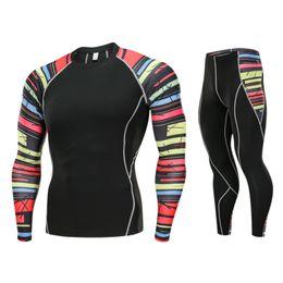 Wholesale men sport sets resale online – Men Quick Dry Running Sport Compression T shirt Pant Suit Jogging Tracksuit Sets Male Gym Fitness Sportswear Running Suit