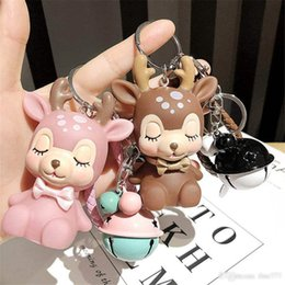 keys bell NZ - Cartoon deer Keychain Bell Cute Flower Deer Doll Couple Car Key Chain Bag Pendant Christmas Gift DHL