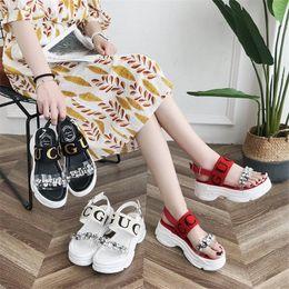 EuropEan womEn sandals wEdgE online shopping - Rhinestone Letter Slippers Wedge PU Women s Sandals Outdoor Non slip Beach Casual Designer Slippers European and American Trend Series