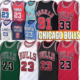 Venta al por mayor de Chicago Bulls 23 Michael de New Jersey 33 Scottie Pippen 91 Dennis Rodman vendimia talón retroceso jerseys del baloncesto Tar equipo ideal