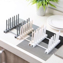 plastic shelf organizers Canada - Foldable Bowl Plate Dish Drainer Rack Plastic Pot Lid Cover Holder Storage Shelf For Kitchen Organizer Accessories