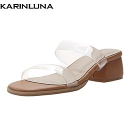 ElEgant flip flops online shopping - KarinLuna New Chic Style Fashion Party Summer Slippers Shoes Women Elegant Chunky Heels Casual flip flops Woman Shoes