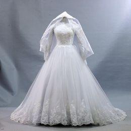 $enCountryForm.capitalKeyWord UK - 2019 islamic Wedding Dresses Hijab Long Sleeve Muslim Unique Wedding Gowns Kaftan Islamic Hijab Gowns With veil Vestido De Noive