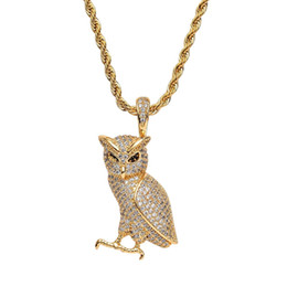 Owl Chain Australia - hip hop owl diamonds pendant necklaces for men copper zircon luxury bird necklace real gold plated Stainless steel golden silver twist chain