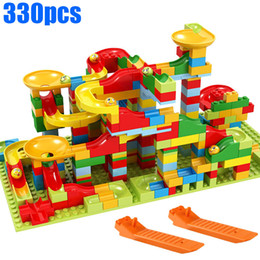 Marble Building Blocks Australia - 330pcs Roller Coaster Small Size Marble Run Set Puzzle Maze Race Track Game Toy Building Block Brick Toy for Girl and Boy