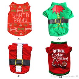 Wholesale Christmas Pullover Hoodies Dog Clothes Pet Dog Cat Costume Shirt Sweater For Santa Snowman Belt Casual Clothes S M L