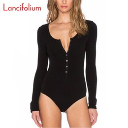 jumpsuits suits Canada - Button Up Thong Bodysuit Women Spring Summer Long Sleeve Jumpsuit Knit Black Bodycon V Neck Sexy Body Suit Overall Romper 2020