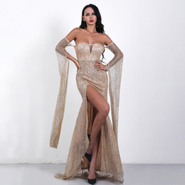 $enCountryForm.capitalKeyWord NZ - Sparkling Powder Evening Dress Sexy Shoulder And Back Long Sleeve Prom Dress Elegant Special Occasion Dresses Real Picture In Stocks