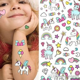 tattoo designs for ankle Australia - Bikini stickers for beach in summer Waterproof Temporary Fake Tattoo Stickers Pink Unicorn Horse Cartoon Design Kids Child Body Art Make Up
