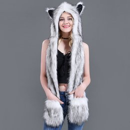 Faux Fur Scarf Hood Australia - Dropshipping New Fashion Animal Warm Winter Faux Fur Hat Fluffy Plush Cap Hood Scarf Shawl Glove free shipping