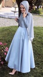 $enCountryForm.capitalKeyWord Australia - Elegant Long Sleeves Grey Blue Arabic Evening Dress with Hijab Muslim Ankle Length Formal Gowns Pearls Dubai Prom Dresses 2019
