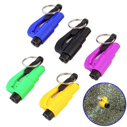 $enCountryForm.capitalKeyWord NZ - Newly 5 Pcs Mini Safety Hammer With Keychain Seat Belt Cutter Car Window Breaking Emergency Escape Tool TE889