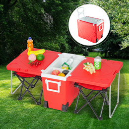 Upgraded Multi-Function Insulated Beverage Rolling Cooler Picnic Camping Outdoor Table & 2 Portable Foldable Camping Fishing Chair Stool wit