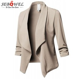 c8419e3fba19 wholesale Womens Blazers Long Sleeve Plus Size 2019 Autumn Spring Ladies  Ruched Solid Blazer Jacket for Office 5XL 6XL Large