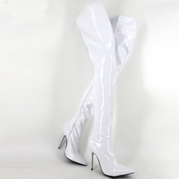 2de87ee28df 12cm High Heel White Exotic Fetish Sexy Metal Thin Heel Boots Women Plus  Size 45 Pointed Toe Thigh High Boots