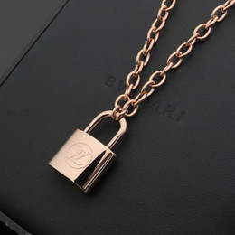 $enCountryForm.capitalKeyWord Australia - New Arrive Fashion Lady 316L Titanium steel 18K Plated Gold Thick Necklaces With V Letter Lock Pendant Rose gold
