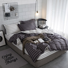 striped sheet sets 2019 - 3PCS Bedding Set Simple Double-sided Striped Bed Set Urban Strip Series Home Hotel Travel Quilt Cover Pillowcase Sheets