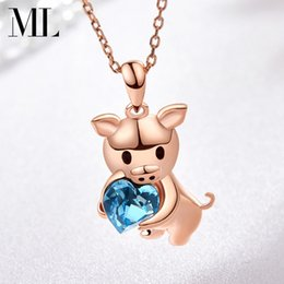 rhinestone pig pendant NZ - Cute Pig Necklace Nightclub Street Dance Hip Hop Necklace Jewelry Outdoor Sports Party Designer Necklace Free Shipping