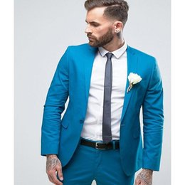 dark blue fashion suit men Australia - Wedding Blazer Fashion Groomsmen Custom Made Groom Tuxedos Blue Men Suits Notch Lapel Best Man 2 pieces ( Jacket+Pants+Tie )