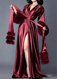 Wholesale silk lounging pajamas for sale – plus size Women Silk Bathrobe Fur Nightgown Pajamas Women s Luxury Dressing Gowns Housecoat Nightgown Robe Lounge Wear Plush Cuff Full Length