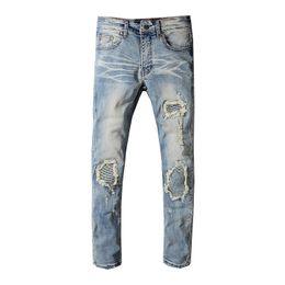 a7fb4376 MIRI Fashion Mens Designer Jeans Hip Hop Distressed Zipper Jeans Mens  Ripped Denim Pants Men Motocycle Biker Jeans Size 28-42