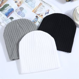 $enCountryForm.capitalKeyWord Australia - Winter Hats For Women Beanie Cap Solid Warm Hats Knitted Skullies Beanies Man Thick Warm Caps Black Gray White