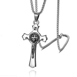 $enCountryForm.capitalKeyWord Australia - Fashion Titanium Steel Catholic Christ Jesus Cross Crucifix Pendant Chain Necklace