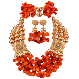 $enCountryForm.capitalKeyWord NZ - Orange African Coral Jewelry Set Nigerian Wedding Coral Beads Necklace Sets Gold Bridal Jewelry Sets RCBS32