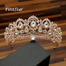 Roses For Hair Australia - Large Charm Crystal Prom Rose Gold Tiara Headband Rhinestone Pageant Crowns Wedding Bridal Diadem For Women Bride Hair Jewelry C18112001