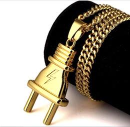 $enCountryForm.capitalKeyWord Australia - 2 Models Jewelry Metal 18K Goldon Plated Plug Pendants Twist Chain Necklace Hipsters Hip Hop Jewelry Men Women Lovers Bijoux Couple Joyas