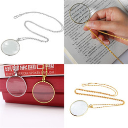 Glass Magnifier Gold Australia - Decorative Necklace 5x Magnifier Magnifying Glass Pendant Gold Silver Plated Chain Necklace Handy Handheld Magnifier