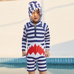 Swimwear Infant Australia - Boys cute striped Shark Hooded Swimwear Infants Swim jumpsuit Beach clothing striped animal pattern Hot spring bathing suit for 3-7T