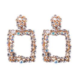 d19e41059493 Vintage Colorido Cristal Geométrico Gran Cuadrado Pendientes Llamativos  Para Las Mujeres Pendientes Joyería de Moda Gota Cuelga Los Pendientes CE475