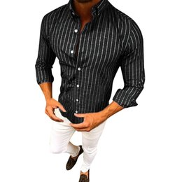 40aaf61441f54e black top men see through top men sexy shirt Sleeve Button Striped Down  Dress Shirts Tops Blouse#g9