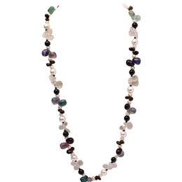"Discount big choker pearl necklace JYX 618 BIG SALE!Elegant Luxurious Colorful Crystal 8-9mm natural pearl necklaces 39"" crystal necklace women"