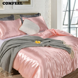 Pink Silk Bedding Sets Australia - COMFEEL Solid Silk Bedding Set Luxury Comforter Duvet Cover Pillowcases Princess Pink Twin Size Kids Bed Sheet Smooth Quilt Sets