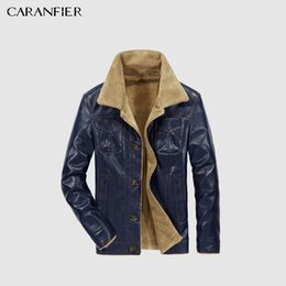 mens faux fur jackets UK - Mens Leather Jackets Jacket PU Business Casual Plus Thick Warm Wide-Collared Winter Biker Coats Windproof 3XL