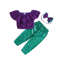 $enCountryForm.capitalKeyWord NZ - Girls mermaid swimsuits kids sequins falbala lapel swimwear+fish scale pattern swim trunks+Bows headbands 3pcs sets kids bathing suits F7022