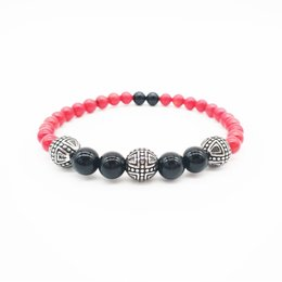 $enCountryForm.capitalKeyWord Australia - Fashion jewelry bracelet red coral black onyx stainless steel beads Lovers bracelets