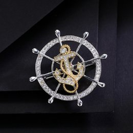 Rudder Gift Australia - Luxury atmosphere with zircon rotary rudder Brooches for men and women Simple Anchor pin brooch gift party jewelry