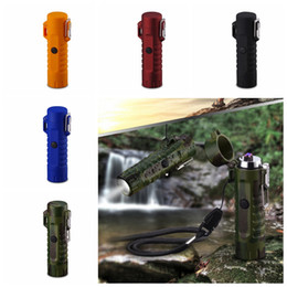 $enCountryForm.capitalKeyWord Australia - Nice Colorful Windproof Waterproof USB ARC Charging Lighter Flashlight illumination Portable Lanyard Innovative Design High Quality DHL