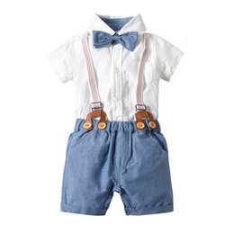 baby boy formal shorts Canada - Short Sleeve white Shirt Bow Tie+Suspenders Shorts baby boy clothes set summer 2019 newborn outfit toddler infant clothing suitMX190912