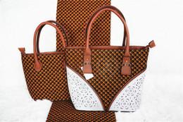 nigerian fabric prints 2019 - 2019 Newest Nigerian bag Wax hollandais prints fabric handbag 2pcs bags selling African dutch wax hollandais bag with di